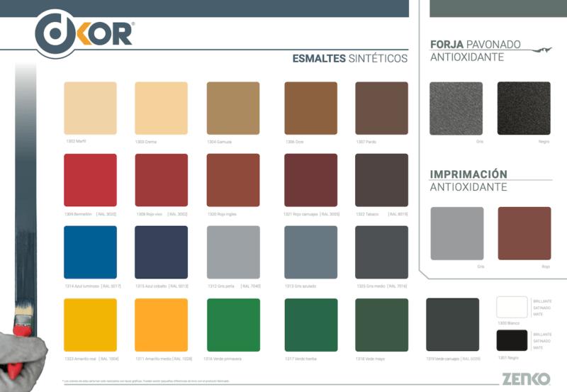 Carta Colores Esmalte Sintético DKOR