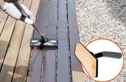 Tratamiento de madera con lasur y pad aplicador con alargo